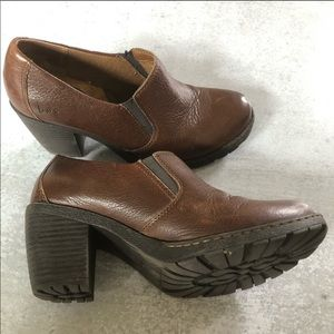 Boc Brown Chunky Heel Clogs